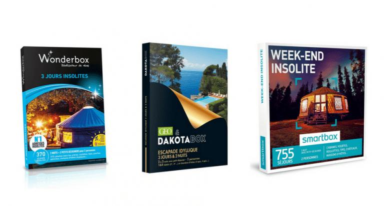 Les 3 Box cadeaux principales : Wonderbox, Smartbox, Dakotabox