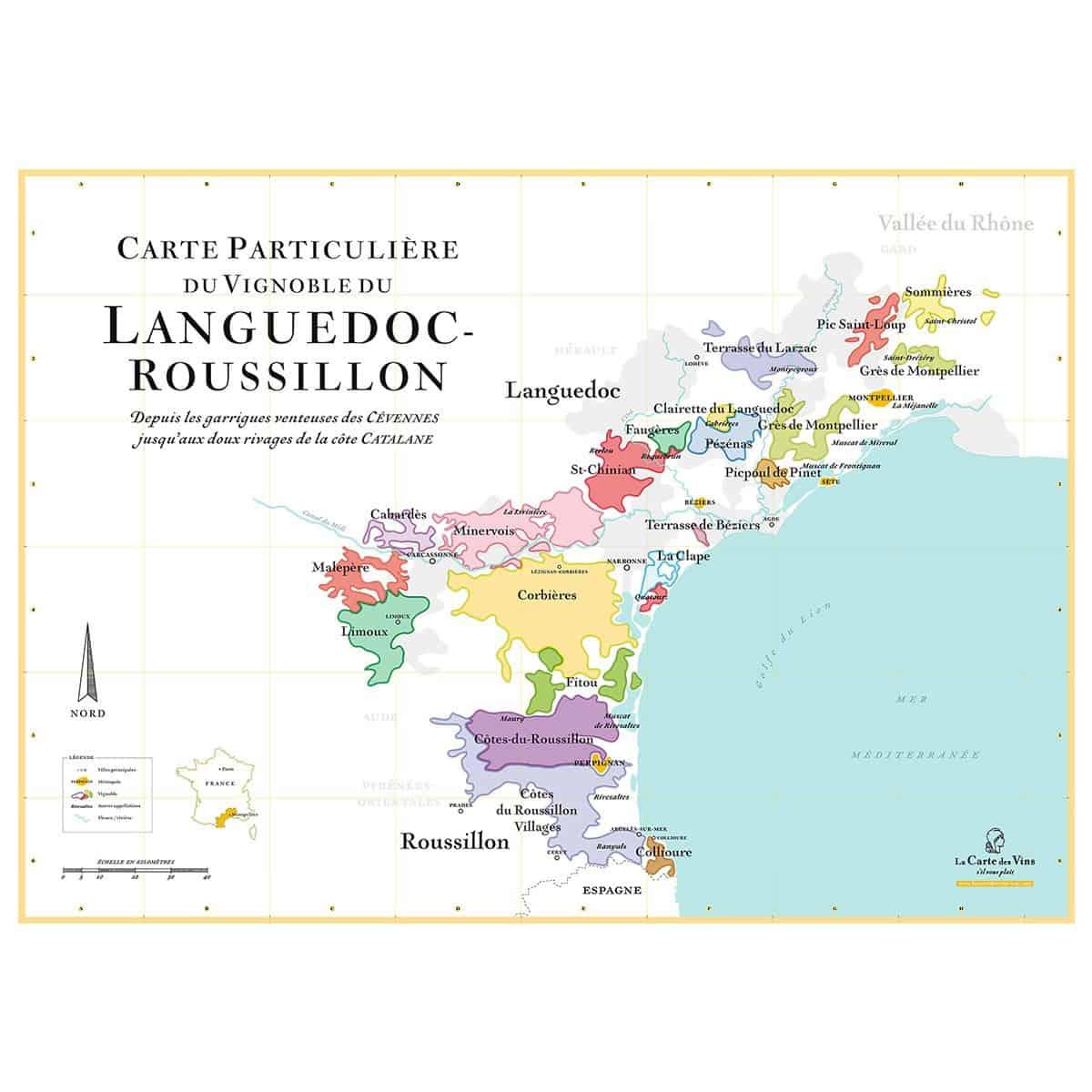 Affiche La Carte des Vins : les plus beaux vignobles de France