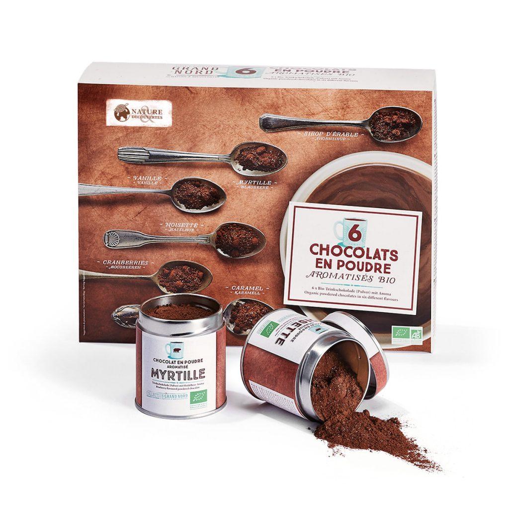 Coffret de 6 chocolats en poudre aromatisés bio