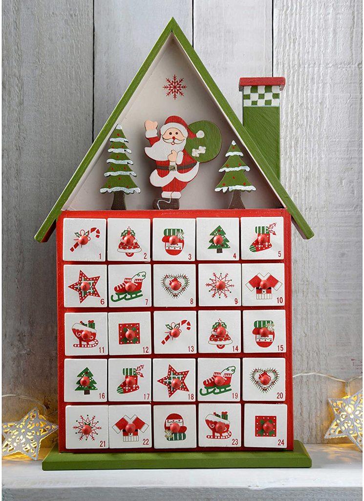 calendrier de l'Avent maison en bois multicolore
