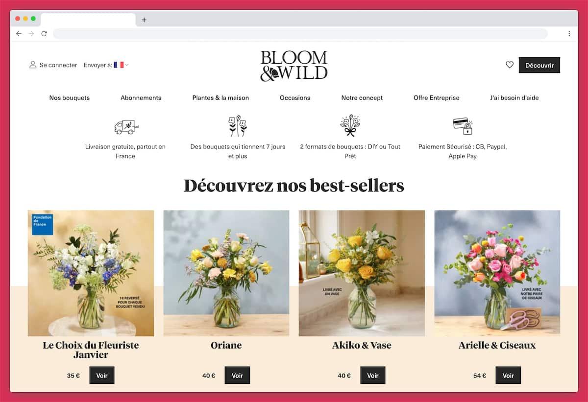 Bloom & Wild : des bouquets de fleurs originaux