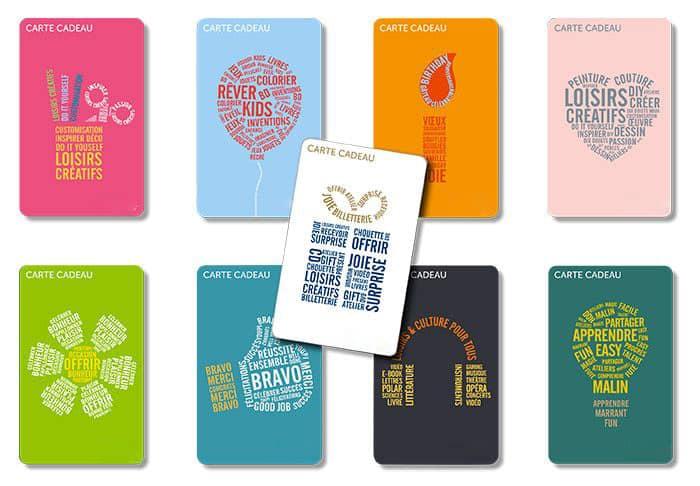Différentes cartes cadeaux