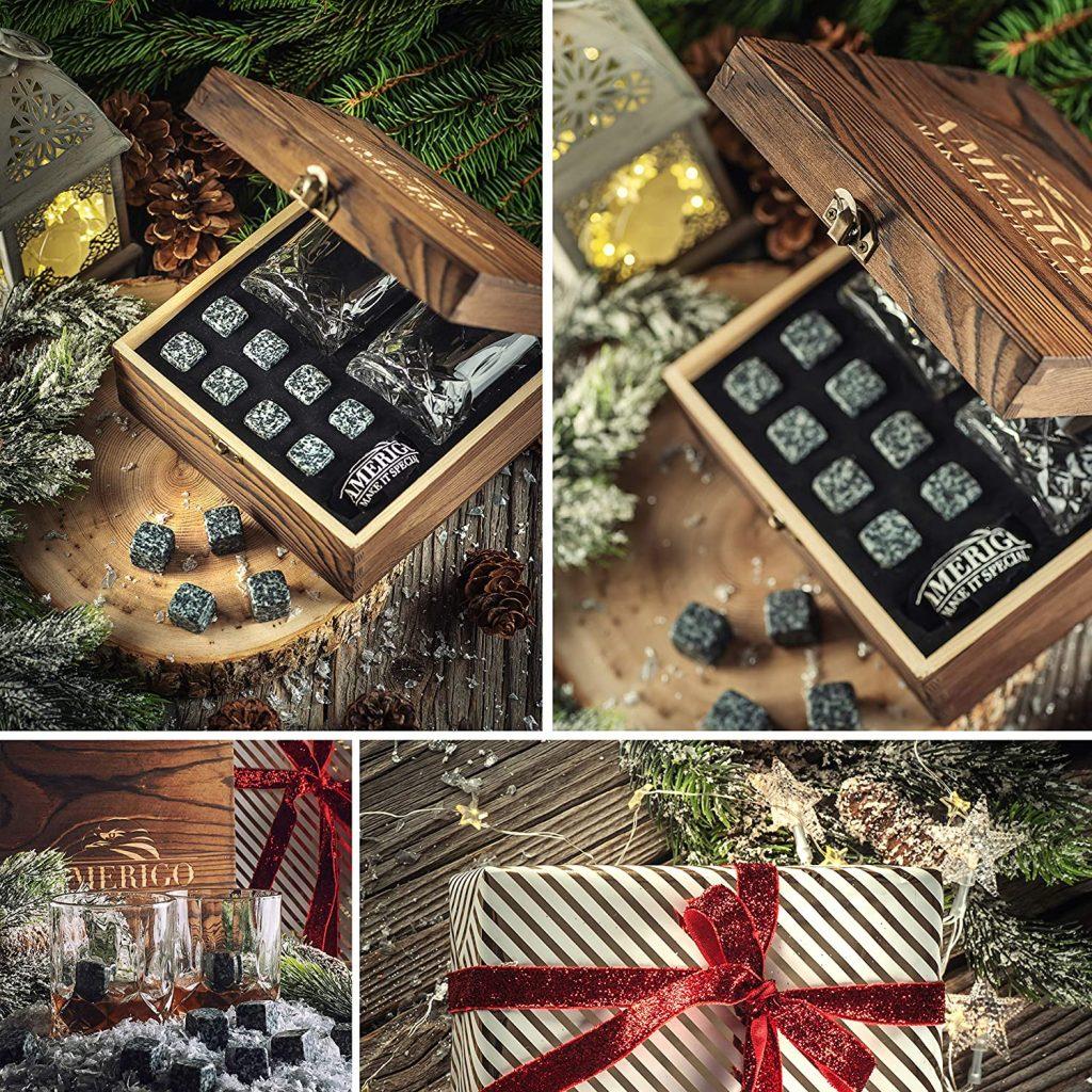 Un coffret cadeau de pierres et de verres à whiskies