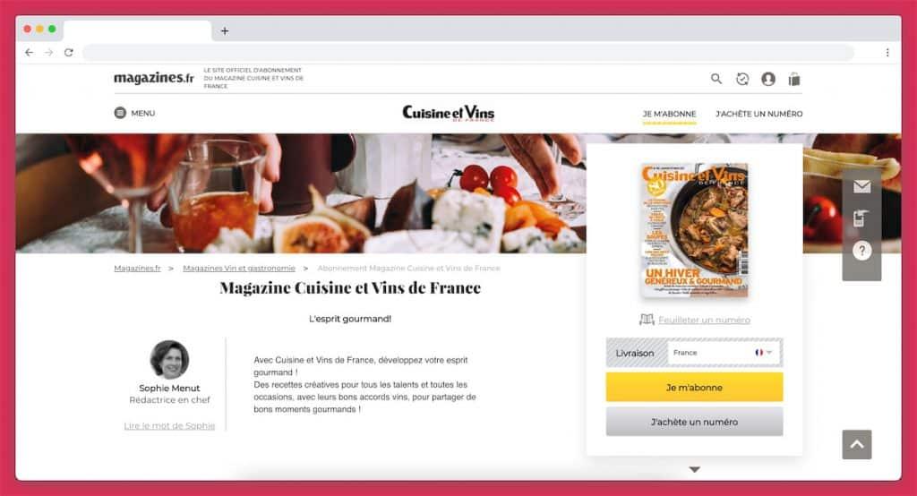 abonnement magazine cuisine