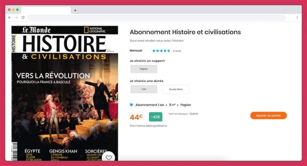 abonnement magazine histoire