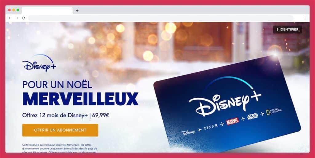 la carte cadeau Disney +