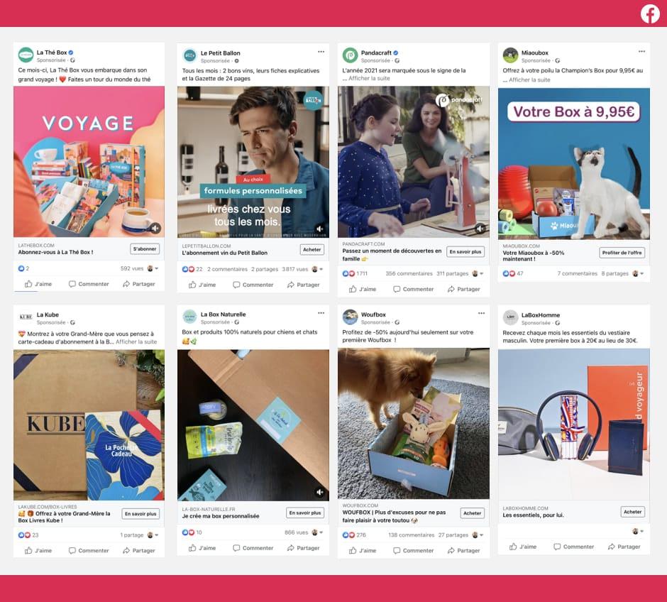 Des publicités Facebook ads publiées par des Box