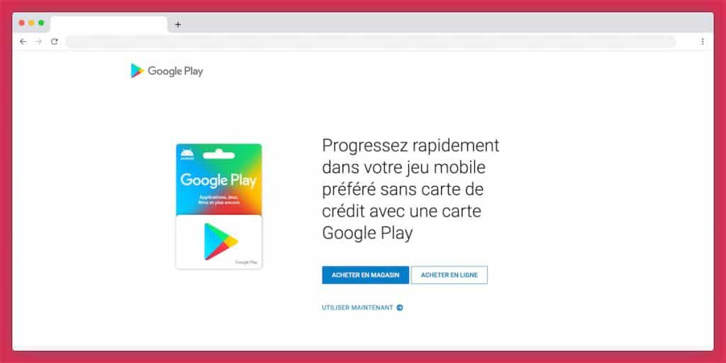 La carte cadeau Google Play