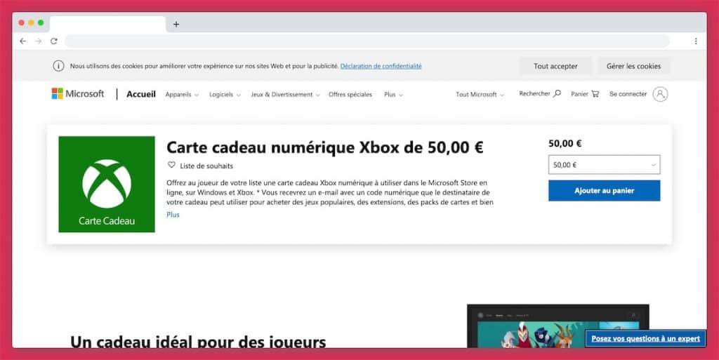La carte cadeau Xbox