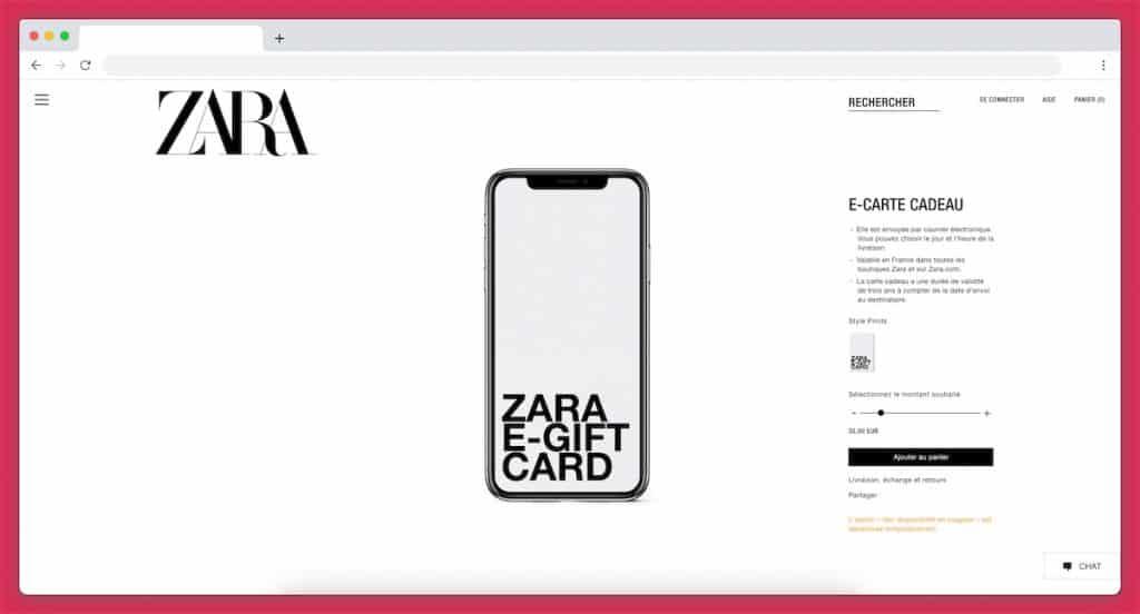 La carte cadeau Zara