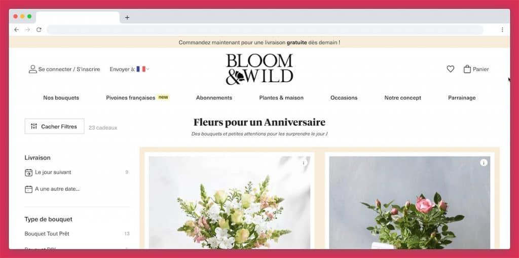 Bloom & Wild : des compositions florales très variées