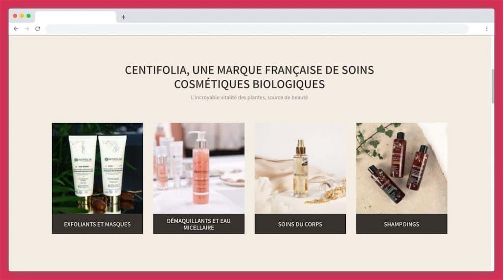 Les catégories de produits proposées par Centifolia