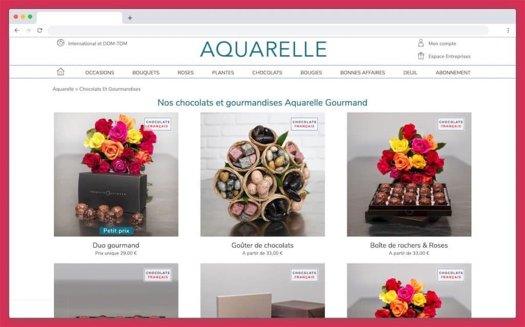 Aquarelle : des bouquets de rose et chocolat