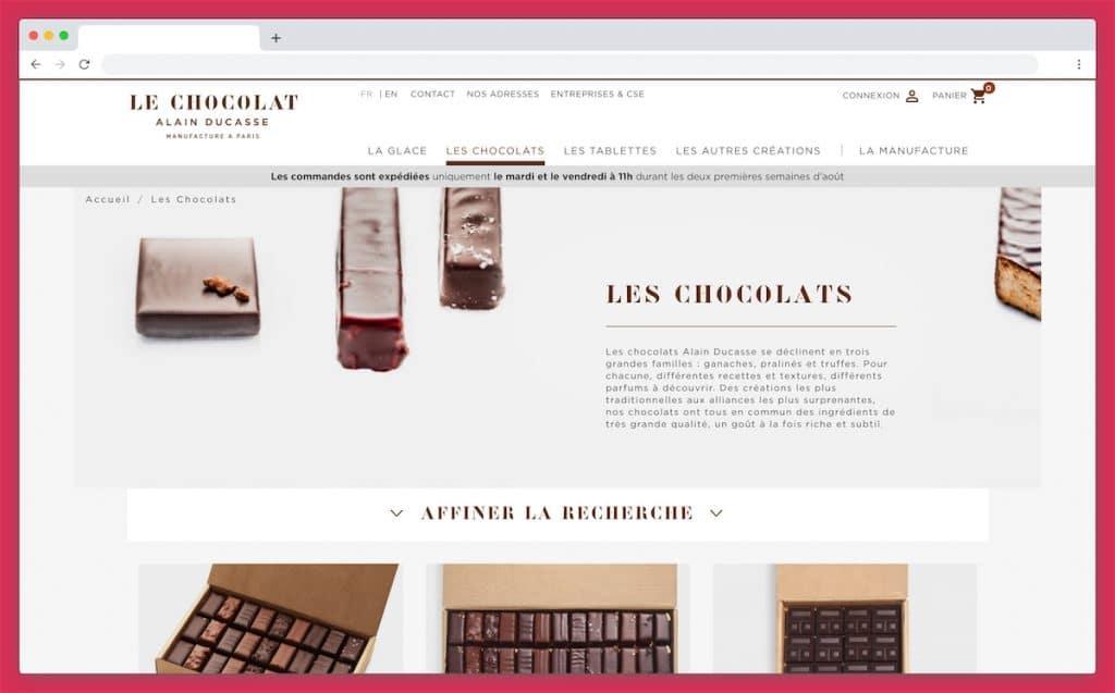 Le chocolat Alain Ducasse : un service coursier à prix mini